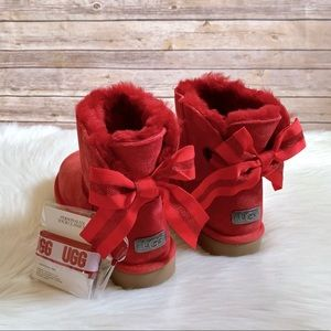 UGG Ribbon Red Customizable Bailey Bow Mini Boots